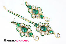 Long Earrings with Tikka Gold Deep Green Kundan