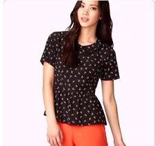 New Retro PinUp Nautical Forever 21 B&W Anchor Print Peter Pan Collar Blouse S
