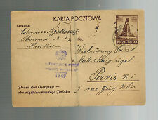 1945 Krakow Poland Censored Postcard Cover to paris France