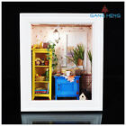 3D wooden frame LED Light dollhouse room miniatures kit warm dawn with cover