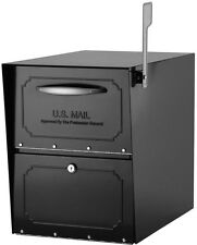 Black Steel Post-Mount Locking Large Oversized Mailbox Package Compartment