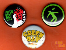"""Set of three 1"""" Green Day pins/buttons band rock alternative punk"""