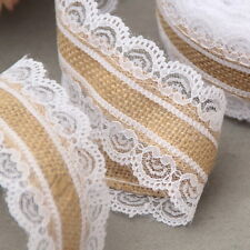 10M Natural Jute Burlap Ribbon Roll White Lace Trim Edge Band Wedding Decoration