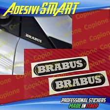 2 Adesivi Resinato Sticker 3D BRABUS Smart Nero Argento Sportello Spechietto