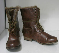 Women TAN  Lace Rugged Military Combat  Riding SEXY ANKLE   boot size  7.5