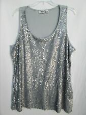 Cato Womens 18/20W Polyester Steer-Gray Sequined Tank Blouse