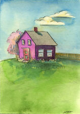 "Wong ACEO Original Watercolor Drawing Painting ""Quiet Home"" house landscape art"