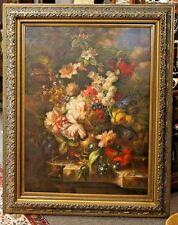 Original 4 Foot Floral Oil Painting Realist Still Life Canvas W/ Stunning Frame