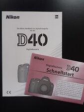 Bedienungsanleitung Nikon D40 Anleitung Handbuch Gebrauchsanleitung NEU