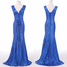 Mermaid Sequins Sexy Long Wedding Bridesmaid Formal Evening Prom Party Dresses