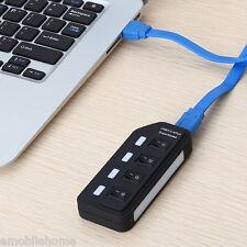 Individual Power Switches 4 Port USB 3.0 Hub with LED Light