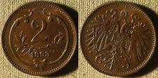Austria : 1893  2 Heller  Red Unc  #2801  IR3721