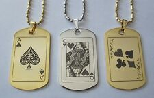 Gold or Silver Tone Poker Playing Card Metal Tag - Free Custom Engraving