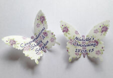 15 Personalised Vintage Purple Roses Wafer Paper Butterflies Cupcake Toppers