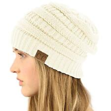 Unisex Winter Chunky Soft Stretch Cable Knit Slouch Beanie Skully Hat Cap Ivory