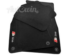 Audi A7 2010-2016 Black Floor Mats With Sline Logo With Clips LHD Side EU