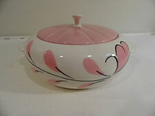 Mid Century Modern Lidded Serving Dish w/ Handles Pink / White USA Bowl