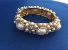 Kenneth Jay Lane Vintage Pearl Clamper Bracelet Bangle signed Kenneth Lane