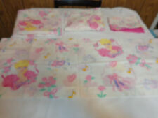 Vintage Barbie Twin Bed Sheet 4pc Set FLAT FITTED PILLOWCASE WINDOW VALANCE 1995
