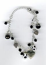 """""""Made with love"""" Black color glass beaded heart charms bracelet. Great gift!"""
