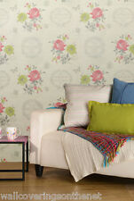 French, Shabby Chic Inspired Wallpaper With Flowers & Butterflies (emily Pink)