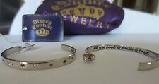"""DISNEY COUTURE TINKERBELL ORECCHINI HOOPS """"ALL YOU NEED IS FAITH AND TRUST"""" BNIB"""