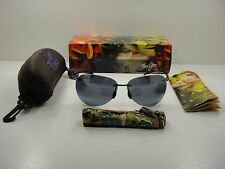 MAUI JIM SUGAR BEACH POLARIZED 421-02 SUNGLASSES BLACK FRAME/GREY LENS, NEW!