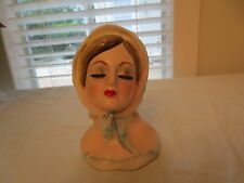 "RARE VINTAGE LEFTON 2796 LADY HEAD VASE WITH    6"" TALL"