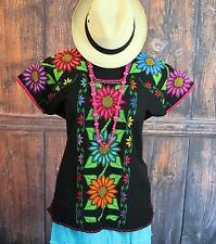Black Michoacan Blouse Hand Embroidered & Woven Mexico, Frida Kahlo Hippie Boho
