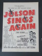 Original Print Ad 1949 JOLSON SINGS AGAIN Movie Ad Larry Parks
