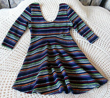 Short mini dress/top by IZABEL Size 10 Dark blue & multi stripes Knitted effect