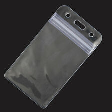 Vertical loading credit card sized clear soft plastic id card holder with zipper