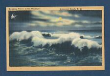 "Vintage Postcard ""Breaking Waves in the Moonlight"" Crescent Beach, S.C. 1951"