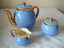 VINTAGE BLUE GOLD VILLEROY & BOCH ORLEANS TEA POT MILK CREAM JUG SUGAR BOWL