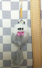 So Pretty Mink Fur Key Chain Ring Smart Cell i Phone Strap Bag Charm A
