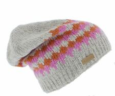 Kusan 100% Wool Floppy Beanie hat Grey/Pink