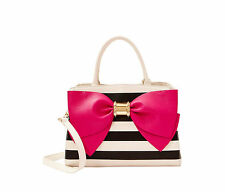 "NWT Betsey Johnson Black White Stripe Satchel ""Ready Set Bow"" MSRP  $118"
