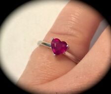 MADAGASCAN RUBY SILVER RING HEART SHAPE! 'CERTIFIED 1.11CT' FAB COLOUR SIZE L '