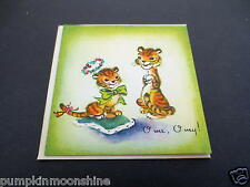 Unused 1947 Brownie Xmas Greeting Note Card Pair of Tigers with Holiday Dress