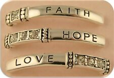 2 Hole Beads FAITH HOPE LOVE Bars Clear Swarovski Crystal Elements Sliders QTY 3