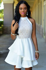 White Lace Nude Irregular Layered Skater Club Party Summer Dress Size UK 8-10