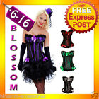 CC33 Ladies Burlesque Moulin Rouge Hens Night Party Dress Costume Corset + Skirt