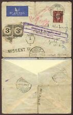 GOLD COAST POSTAGE DUE INCOMING from GB MISSENT to SUHUM...KONONGO UNCLAIMED