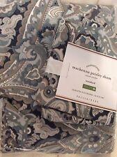 Pottery Barn Mackenna Paisley Full/Queen Duvet Cover & 2 Std Sham New! Blue