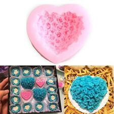 Rose Flower Bouquet Loving Heart Soap Mould Silicone Cake Decorating Baking Mold