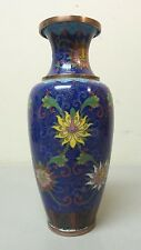 "ANTIQUE CHINESE CLOISONNE ENAMEL ON COPPER 8"" VASE, COBALT BLUE with FLOWERS"