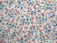 Stoff Baumwolle@Blümchen hellblau rot@Florencia Ökotex Blumen Streublümchen hell