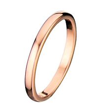 2mm Thin Rose Gold Plated Ring Tungsten Carbide Wedding Band Size 5