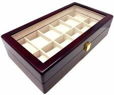NEW Cherry Wood Finish 12 Watch Box Storage Chest Display Case