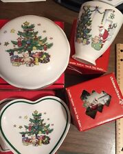 NIKKO Heart & Covered Dish Votives Happy Holidays Christmas Tree Christmastime